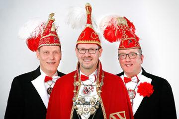 Prinz Guido I. Prinz und Mundschenke Olaf Künne und Raimund Stehmann